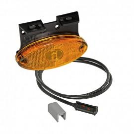 Luce laterale arancione a LED con cavo da 0,5m PeR resinato direttamente nel fanalino e staffa di fissaggio rivolta in avanti