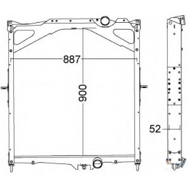 Radiatore acqua in alluminio per Volvo FH, FH12 e FH16 ( Rif. Volvo : 20536915 20722440 21375354 85000325 85003229 )