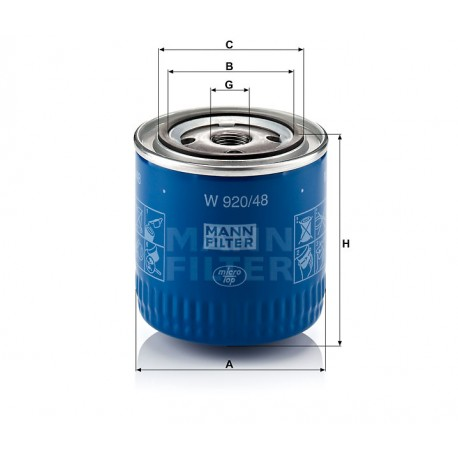 Filtro olio motore Mann Filter per Renault e Nissan ( Rif. Renault : 5001869771 Nissan : 15208-BN30A 15208-BN300 )