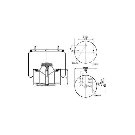 Molla aria sospensione completa con pistone in metallo Firestone M588602 per BPW