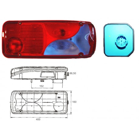 Fanale 7 funzioni tipo M.A.N. TGA sx con luce targa e connettore laterale