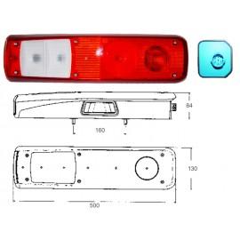 Fanale 7 funzioni tipo VOLVO e RENAULT sx con luce targa e connettore laterale